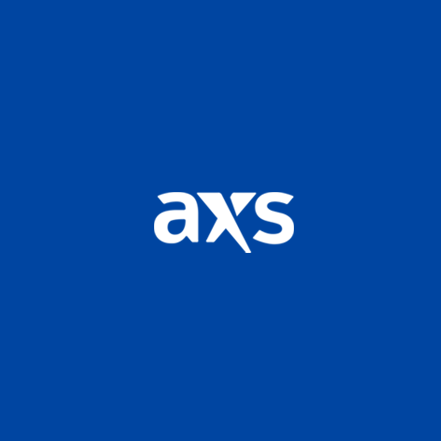 Dark blue square containing AXS logo