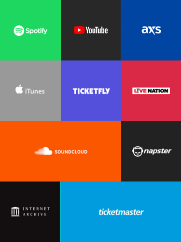 Grid of colored squares containing logos of Sparkmesh source sites, including Spotify, iTunes, YouTube, Soundcloud, The Internet Archive, Napster, AXS, Ticketfly, Ticketmaster, and Live Nation