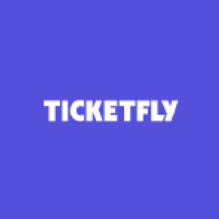 Blue square containing Ticketfly logo