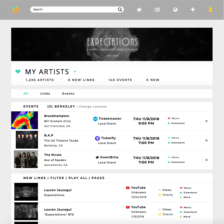 Expandable image of homepage displaying both artist events and links in one place