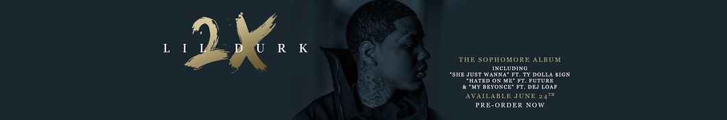 Large banner image of Lil Durk headlining the page