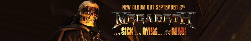 Large banner image of Megadeth headlining the page