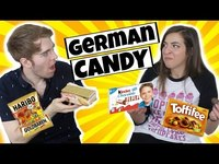 Thumbnail for the Gabbie Hanna - AMERICANS TRY GERMAN CANDY link, provided by host site