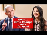 Thumbnail for the Olivia Rodrigo - Asks Dr. Fauci About Vaccination | Teen Vogue link, provided by host site