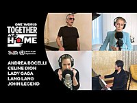 """Thumbnail for the Céline Dion - Celine Dion, Andrea Bocelli, Lady Gaga, Lang Lang, John Legend perform """"The Prayer"""" 