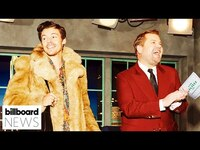 Thumbnail for the Harry Styles - Does Gucci Beloved Campaign With James Corden | Billboard News link, provided by host site
