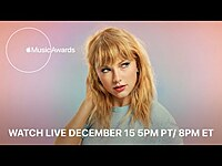 Thumbnail for the Taylor Swift - Folklore, evermore and Songwriting | Apple Music Awards 2020 link, provided by host site