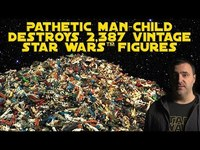 Thumbnail for the Red Letter Media - Pathetic Man-Child Destroys 2,387 Vintage Star Wars Figures link, provided by host site