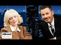 Thumbnail for the Billie Eilish - Punches Jimmy Kimmel In The Stomach & Cuts A Fan's Hair   Billboard News link, provided by host site